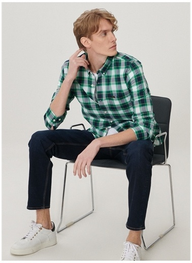 Lee Lee L880KSQD_Uzun Kollu Gömlek  Yeşil